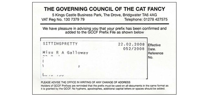 Sittingpretty GCCF Cattery Registration